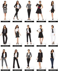 Lots of great ideas for business/polished casual outfits, perfect for self-employment, especially if you are also the staff janitor, courier, and packager!