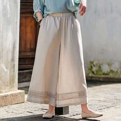 Item Type: PantsMaterial: Cotton,LinenSeason: Spring,SummerStyle: CasualPattern Type: SolidDecoration: LacedWaist Type: NaturalLength: Nine-Pointed Length Pants Style: Wild Leg PantsFit Type: LooseClosure Type: Elastic Waist One Size (fit for ) Length: Wide Leg Linen Pants, Skirt Pants, Fashion Pants, Cotton Linen, Elastic Waist, Lace Skirt, How To Look Better, Pants For Women, Legs