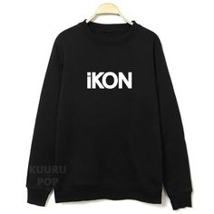 iKON Sweater  Simple but stylish, these black sweaters are printed with 'iKON' in white. Stay cosy in this high-quality jumper and show your love for YG's upcoming boyband.