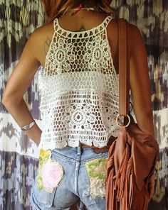 Best 12 Honeycomb Flower Lace Top 2 Colors- Beige or White Measurements: Bust: 38 Stretches up to 48 Length: 19 Care: Hand or Machine Wash Festival Shirts, Festival Outfits, Crochet Blouse, Crochet Lace, Outfit Strand, Top Boho, Beach Tops, Beachwear For Women, Lace Tank
