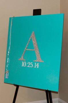 Tiffany Themed Sign in Board Tiffany Bat Mitzvah Sign in Board with Glittered Initial