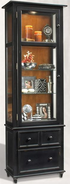 Philip Reinisch Color Time Vista - Contemporary Wood & Glass Curio Display Cabinet - Would love a couple of these in the Media room!