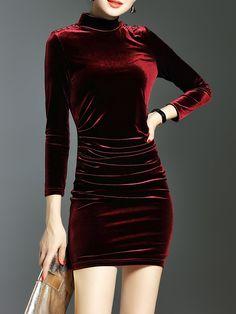 LONYUASH Wine Red Elegant Bodycon Plain Mini Dress - AdoreWe.com