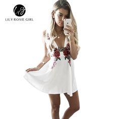 Elegant White Deep V Neck Rose Floral Embroidery A Line Dresses Women Autumn Winter Party Beach Mini Girls Dresses Vestidos