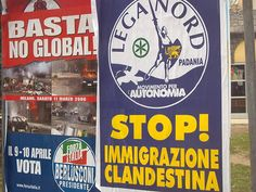 Este cartel es sobre los inmigrantes ilegal en Italia. a Muchos personas no le gustan que inmigrantes de Africa Norte llegan en Italia ilegalmente y las personas quieren Italia a cerrar las fronteras