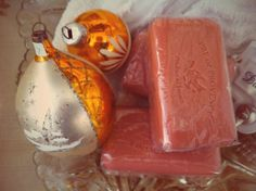 Sparkly, frosted amber glass ornaments. And delicious Pre de Provence soaps…!