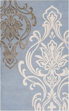 Periwinkle blue, cream, brown rug from RugsUSA.  100%  New Zealand Wool  Priced from $54.00  -  $2550