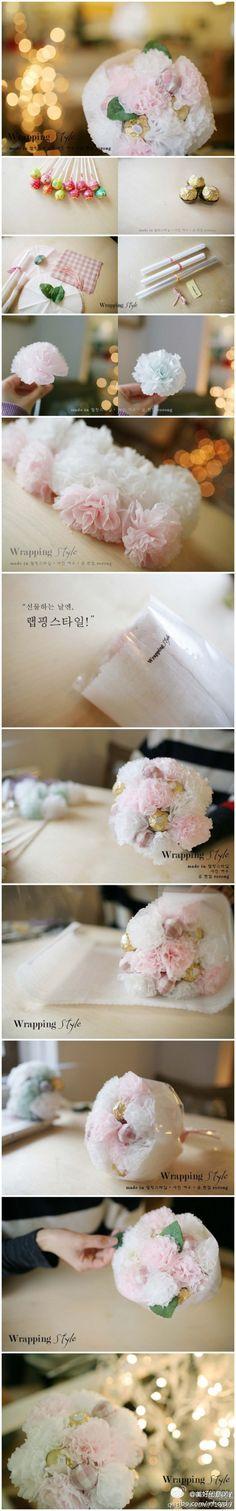Hacer un ramo de flores con una piruleta, miel dulce ~ ~ content >>> más interesante, por favor, preste atención a la