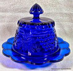 Cam Kobalt Mavi Üzüm Kablo Kapalı Tereyağı kabı