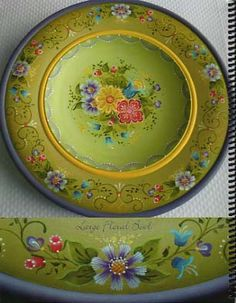 Large wooden plate, with stroke work flowers.