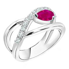 Silverstargemsjewellery Pear Red Ruby  SimDiamond 14k White Gold Finish Bypass Engagement Ring In Alloy 75 -- Be sure to check out this awesome product. (This is an affiliate link and I receive a commission for the sales)