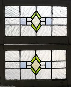 Pair of Antique Stained Glass Windows Three Color Art Deco Diamonds       (2746)