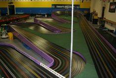 Purple Mile, Modelville Hobby in Ashland, MA Slot Car Racing, Slot Car Tracks, Slot Cars, Stairs, Purple, Blue, Airplanes, King, Models