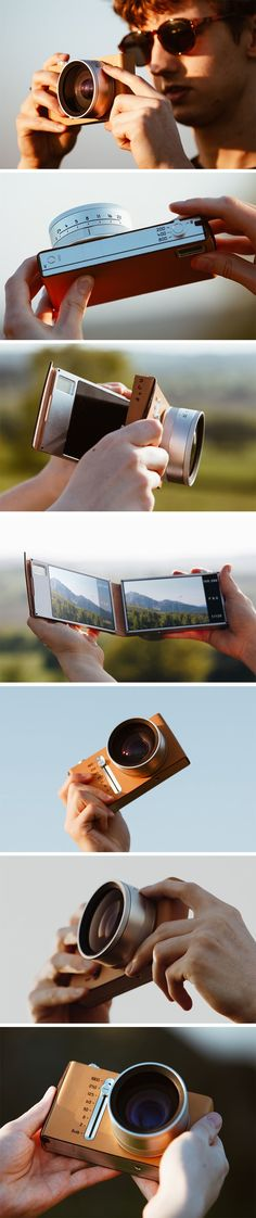 The Note cam was inspired by studying the works of visually impaired fine-art photographers and allows users to capture their perspective of the world, regardless of their sight or knowledge of photography. The design takes on a familiar journal-theme with split halves that are bound by a handsome leather case. The dual displays allow users to make side-by-side comparisons of their work when different settings are applied.