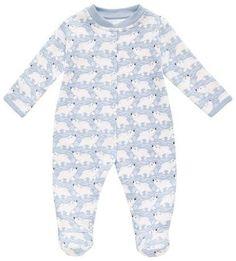 JoJo Maman Bebe Polar Bear Footie (Baby) - Blue