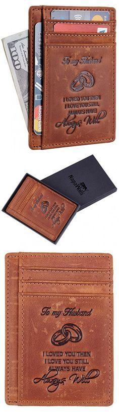 NapaWalli Wife To Husband Gift Best Anniversary Birthday Gifts For Him Genuine Leather RFID Blocking slim Wallet Card Holder (Hunter Deep Brown)