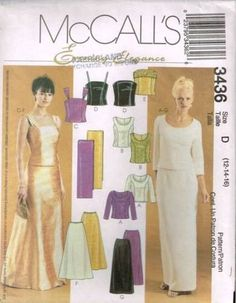 3436 Sewing Pattern McCall's 2 Piece Wedding Bridal Top Skirt 12 14 16