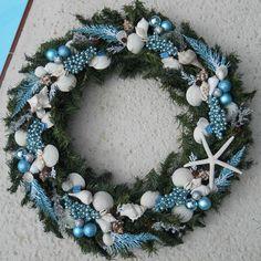 "Large Tropical Sea Shell Christmas Wreath ""Ice Blue"" Coastal Beach Cottage Decor | eBay"