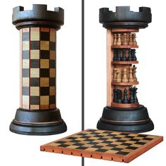 Rook Tower pack-away wooden chess board - crazy_inventions Cool Ideas, Woodworking Plans, Woodworking Projects, Woodworking Videos, Woodworking Inspiration, Woodworking Shop, Wooden Chess Board, Chess Boards, Wooden Board Games