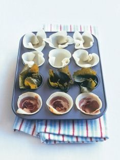 Clever appetiser idea using wanton wrappers, vine leaves and pancetta as tart cases from www.donnahay.com.au