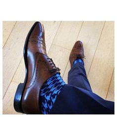 7cc76998ec Perfect combination Blue Houndstooth Socks from www.rockmysocks.com Hugo  Boss leather kicks & Calvin Klein navy suit #mensfashion #mensstyle  #colorfulsocks ...