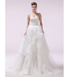 Ivory A-line Sweetheart Beading Organza Wedding Dress with Detachable Panel Train $389.78