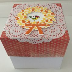 Paper gift box, size is 4-1/2 by 4-1/2. Is this little bird cute or what?