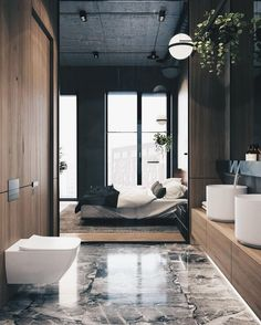 "8,445 Likes, 41 Comments - ALL OF ARCHITECTURE (@allofarchitecture) on Instagram: ""Bathroom goals in the morning #allofarchitecture Cozy Loft by ONI Architects via @artsytecture"""