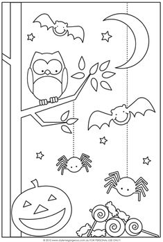 halloween coloring pages to print with scary shapes spiders bats pumpkin owl on tree branch crescent moon