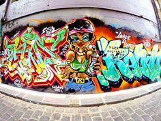 Hosier Lane Street Art, Melbourne, Australia, September 2015 - Work (left, center) by Kozie.