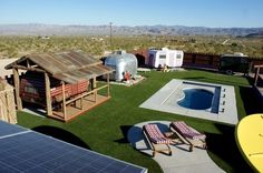 An eclectic trailer park retreat in the middle of the California desert
