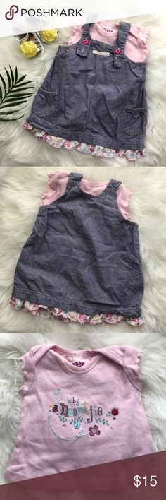 Naartjie Outfit Overall/coverall denim dress with a floral patterned ruffle hem. Adjustable button straps. Front pockets. Pink short sleeve tee with a lettuce edge. Baby Naartjie with little bird and flower. Naartjie Matching Sets