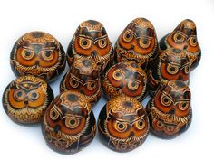 Owl Gourds made in Peru