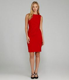 Calvin Klein red dress. Available at Dillards.com