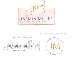 Diseño de logotipo salón de pelo, tijeras logotipo paquete, kit peluquería Logo, logo iniciales, moda marca paquete conjunto, personalizado, logotipo de estilista, 91