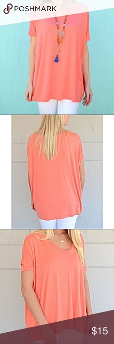 Peach Piko shirt Oversized and very loose fit with super soft bamboo fabric. Piko Scoop Neck Open Short Sleeve Top in peach can be styled simple or accessorized for a fashion forward look. Only worn once, no signs of wear. Piko Tops