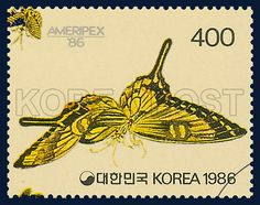 Postage Stamps Commemorative of Partioipation in AMERIPEX `86, Butterfly, Insect, Yellow, black, 1986 05 22, AMERIPEX 86 참가기념, 1986년05월22일, 1428, 군접도(민화), postage 우표