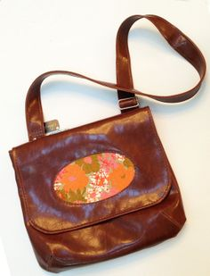d48de6502 Items similar to Vegan Porthole Handbag, Features Adjustable Strap, Brown  Faux Leather, and Floral Panel, Make To Order on Etsy