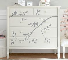 LOVE this!! I could totally paint this myself on a less expensive dresser. Super cute! Madeline Painted Dresser | Pottery Barn Kids