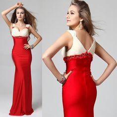 Sexy Ivory Red High Waist V Neck Wedding Evening Ball Gown Bridal Dress SKU-122521