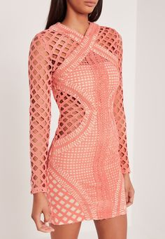 Missguided - Carli Bybel Long Sleeve Lace Cut Out Bodycon Dress Pink