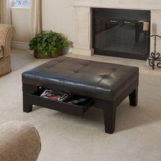 Leather Storage Ottoman/Coffee Table w/Drawer 339992BRN 817056010491 | eBay
