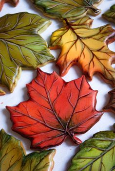 autumn cookies - Cake by Alina Vaganova - CakesDecor - Fall - Thanksgiving Leaf Cookies, Fall Cookies, Cut Out Cookies, Iced Cookies, Royal Icing Cookies, Cookies Et Biscuits, Holiday Cookies, Cupcake Cookies, Cupcakes Fall