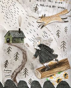 Forest Illustration, Children's Book Illustration, Character Illustration, Watercolor Illustration Children, Paper Collage Art, Paper Art, Pop Up, Art Plastique, Oeuvre D'art