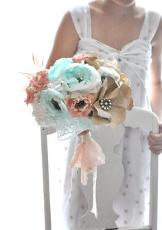 Mint fabric flowers combined with apricot and by AlternativeBlooms, $274.00-Expensive but awesome!