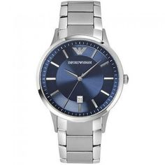 Emporio Armani 100% Authentic Blue Face Stainless Steel Band Watch Ar2477 Men's Water Resistant Up To 100 M Date Easy Read 12-hour Dial Quartz : Battery Analog Fashion Modern (2000-present)