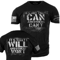 Can VS Will T-Shirt- Grunt Style Military Men's Black Tee Shirt