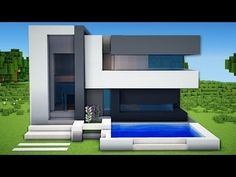 Minecraft: Small & Easy Modern House Tutorial - How to Build a House in Minecraft - Minecraft Servers View Minecraft Small Modern House, Minecraft House Plans, Minecraft Mansion, Easy Minecraft Houses, Minecraft House Tutorials, Minecraft Houses Blueprints, Minecraft Room, Minecraft City, Minecraft House Designs