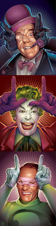 Batman 75th Anniversary: The Penguin, Joker and Riddler by Orlando Arocena