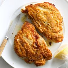 At the Lambs Club in New York, chef Geoffrey Zakarian dusts the chicken with flour and lets it cook skin side down--keys to a juicy cutlet under a super thin, crackly layer of skin. If you can find boneless, skin-on chicken breasts, they'll save you a step.